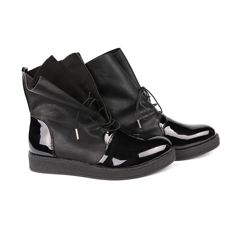 AIMEIGAO Fashion Spring Autumn Women Boots Patent PU Leather Platform Woman Shoes Plus Size Boots For Women Botas Mujer (14)
