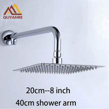 Free Shipping Stainless Steel 8 inch Ultrathin Shower Head Wall Mount Brass Shower Arm Chrome Finish