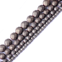 Top quality 2/3/4/6/8/10mm Natural stone grey matt round faceted loose hematite beads for DIY jewelry necklace bracelet making