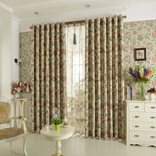 New Hot Sales Jacquard Printed Flower Garden Curtain Cortina Blinds Shade Full Blackout Curtain For Living Room Cusom Made