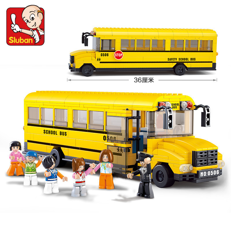 Sluban 382Pcs large School Bus 3D Construction Model Enlighten Construction Brick Toys For Children action figure(China (Mainland))
