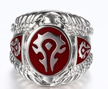 1 pc Red Black Color Fashion Jewelry World of Warcraft 316L Stainless Steel Hot WOW Ring(China)