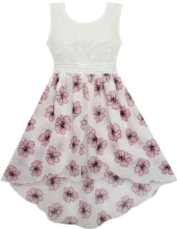 Sunny Fashion Girls Dress Hi-Lo Maxi Sequin Chiffon Lace Flower Pink 2017 Summer Princess Wedding Party Dresses Size 7-14<br><br>Aliexpress