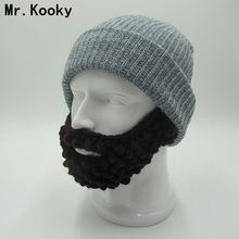 Mr.Kooky Novelty Winter Cool Solid Warm Soft Beard Beanies Skull Hats Knitted Touca Gorro Party Cap Men's Women's Birthday Gifts(China)