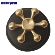 Copper/stainless steel 6 angle bearing size 696 Professional EDC Hand Spinner Torqbar Brass Fidget Toy Fidget Spinner For ADHD