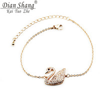 DIANSHANGKAITUOZHE Beauty Noble Swan Bracelet Bird Ladies' Party Jewellery Bridesmaid Gift Hand Chain Set Auger Rose Gold(China)