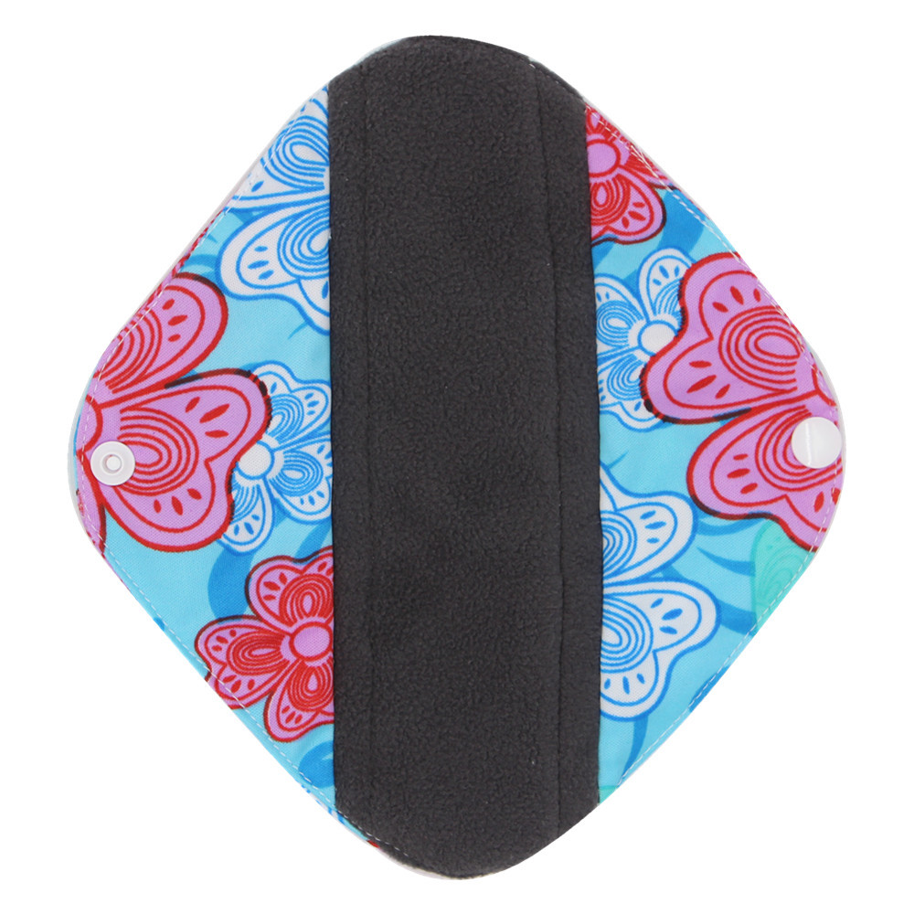 New Reusable Bamboo Charocoal Washable Menstrual Pad Mama Sanitary Towel Pad Practical Feminine Hygiene Product 1pc Pretty 15