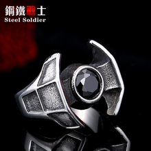 Steel soldier hot sale film style star wars men fashion stainless steel ring unique men Darth Vader's spacecraft jewelry(China)