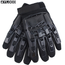 Mens Leather Driving Gloves Tactical Gloves Military Armed Paintball Airsoft Outdoor Sports Fitness Gloves Full Finger Guantes(China)