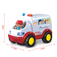 0-3 Years Old Baby Learning&educational Ambulance Toy Car Styling Doctor Emergency Model with Light and Music Electric Car(China)