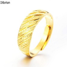 Never Fading 24K Gold rings for Women men Gold Color Dubai Bride Wedding Ethiopian Africa alliance Jewelry wholesale(China)