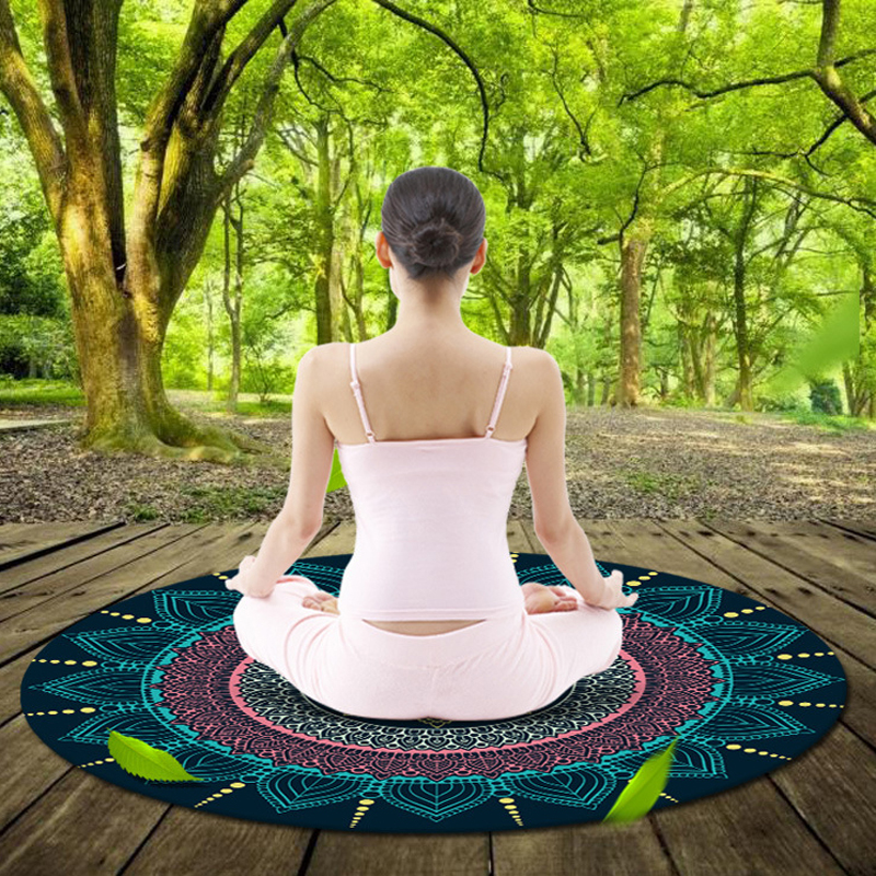 1 mm Multifunctional Printing Round Yoga Mat Natural Rubber Cushion Picnic Beach Resort Children Crawling Suede Exercise Mats<br><br>Aliexpress