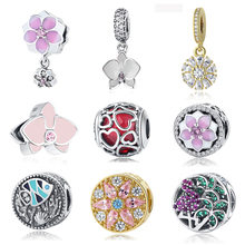 NEW S925 Sterling Silver Red White Glaze Orchid Hanging Enamel Crystal Pendant Bead Charms Fit Women Pandora Bracelets & Bangles