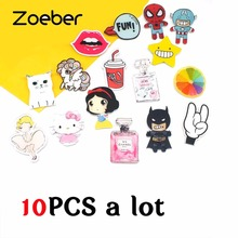 Zoeber 10 PCS A Set/lot  Anime Brooches Pins Acrylic Lovely Girl  Cartoon Animation Animal Character Badge Brooch Children pins