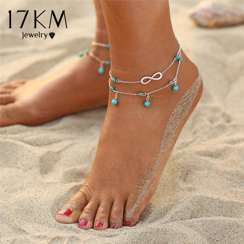 17KM Design Double Layer Pendant Anklet Woman 2018 New Geometric Bracelet Charm Bohemian Anklets Jewelry Summer Party Gift