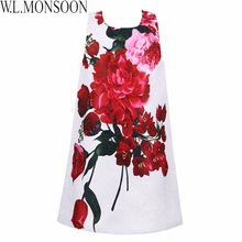 Robe Noel Fille Princess Dress Girls Clothes 2017 Brand Girls Summer Dresses Kids Costume Rose Flower Printed Children Dress