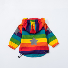 Baby Girl Jacket Boy Hooded Coat Sunscreen Clothes Rainbow Stripe Jacket Baby Boy Long Sleeves Spring And Autumn Kids Clothes 2Y(China)