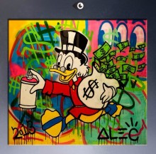 Free shipping pop artist Painting Richie Rich Graffiti money art Alec Monopoly Banksy arts poster hand painted no frame x-192
