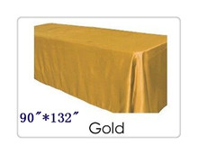 "Free shipping rectangle tablecloth size 90""*132"" color gold  for wedding decoration /tablecloth to table"