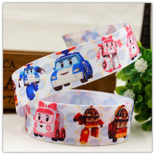 22 mm cartoon rib ribbon 1 y, free shipping, 7/8, auto robot, police, ambulance, DIY clothing accessories material