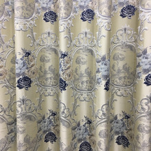 Traditional Euro Style Jacquard Woven Gray Beige Drapery Railroad Curtain Sofa Upholstery Fabric 280 cm width Sell by meter