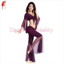 Belly dance costume sexy gauze sleeves top+gauze pants 2pcs/set for women belly dance costume exercie set 11kinds of colors