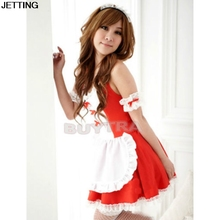 Buy Red Black lovely Female Maid classical Lace sexy miniskirt Sexy lingerie sexy underwear lolita maid outfit sexy cosplay costume