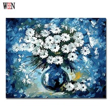 Blue Daisy Painting By Numbers Modern DIY Digital Wall Art Picture For Home Decor Flower Gift Coloring by numbers Wall Artwork(China)