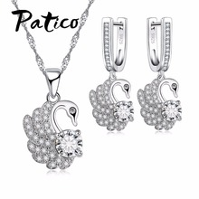 PATICO White Carat Stone Wedding Jewelry Sets For Girls Women Swan Necklace Pendent S925 Sterling Silver Earring Jewelry Party(China)