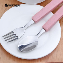 WORTHBUY 2 Pcs/Set Creative Wheat Straw Dinnerware Sets Stainless Steel Scoop Fork Tableware Kids Picnic Camping Cutlery Set(China)