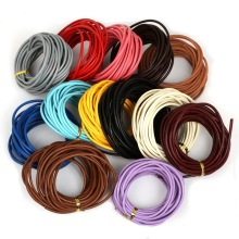 3mm  5m/lot 13 Colors Round Shape  Real Leather Rope String Cord Jewelry  for  Bracelet Finding  DIY Making