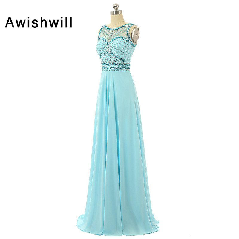 Real Sample Customized Sleeveless Beading Chiffon Floor Length Women Evening Dresses Bride Banquet Elegant Party Prom Dress