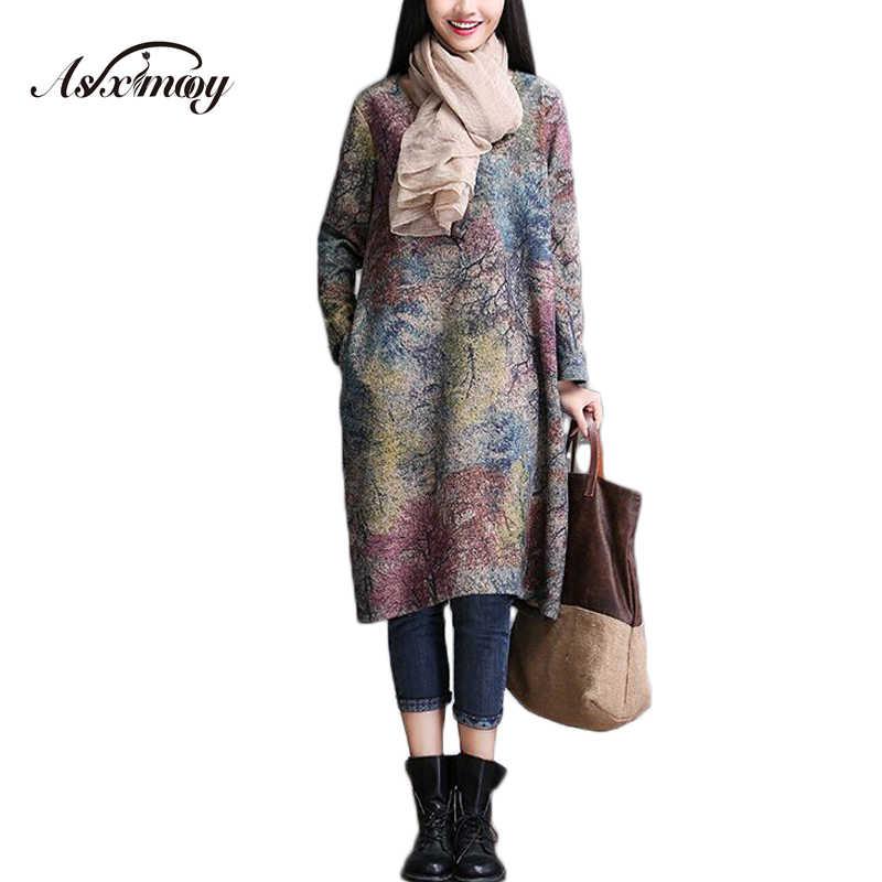 a8a882aac4 2018 Autumn Winter Vintage Office Wool Warm Dress Women Long Sleeve Print  Casual Maxi Long Dress
