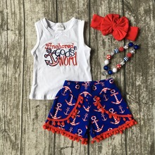 Baby girls summer clothing girls July 4th Anchored in God's word shorts clothes kids anchor clothing with accessories