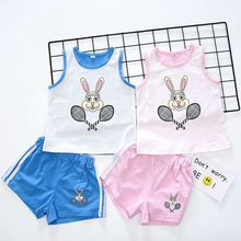 2018 spring summer boys girls clothing kids sport rabbit tennis clothing sets brand clothing sets(China)
