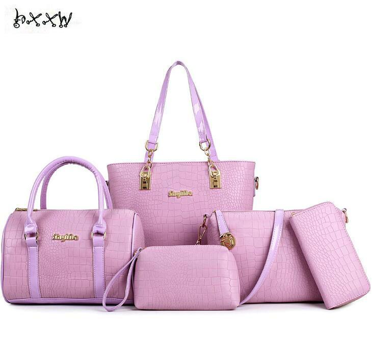 HXXW Brand Alligator PU Leather Lady Handbag 5 Pcs Composite Bags Set Women Messenger Crossbody Bag Female Clutch Wallet Purse<br>