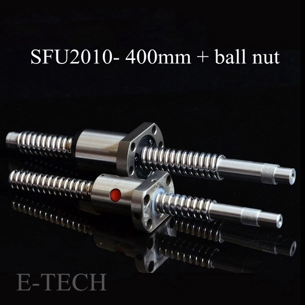 2pcs/Lot! Ball screw SFU2010 set : 2pcs ballscrew SFU2010 L400mm Without End Machined +2pcs SFU2010 Ball Nut<br>
