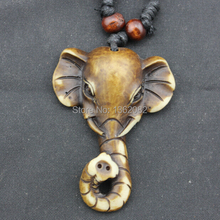 Hot Selling Yak Bone Hand Carved Tibet White Elephant Pendant Necklaces Lucky Gift MN160