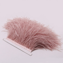 Hot Sale Dyed Leather Pink Ostrich Feathers Fringe Trims 1yard Per Natural Plumage Ribbon Trim for Costume Dress