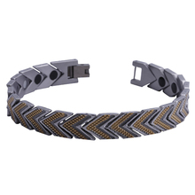 "Mens11MM Titanium Magnetic Therapy Link Bracelet Negative Ion Germanium Power Health Wrist Band 8.5"" Golden Silver Tone"