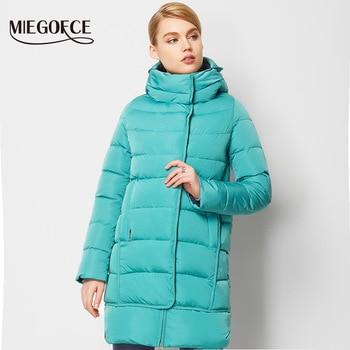 Miegofce 2016 nueva colección de invierno invierno de las mujeres abajo chaqueta de la capa larga Mujer de Down Parka Abrigo de Invierno Caliente de Alta Calidad con campana
