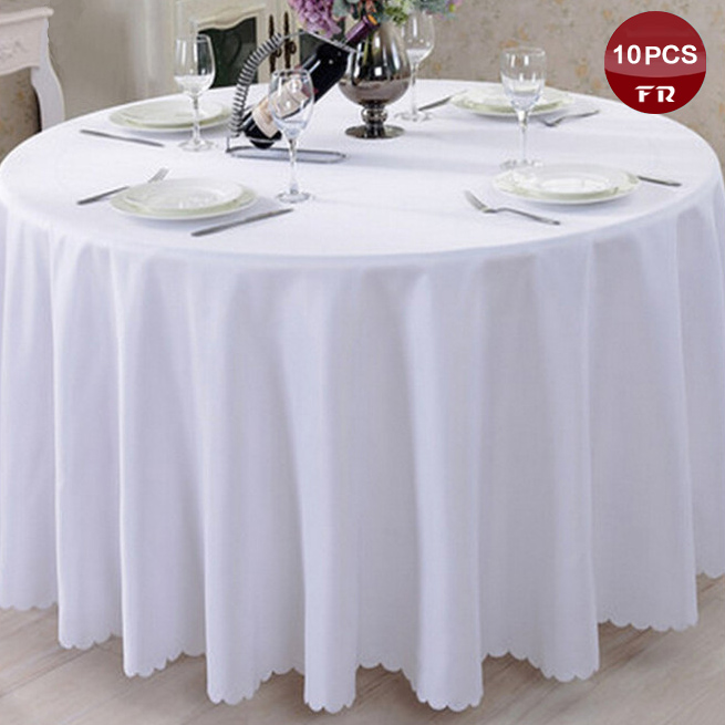 Attractive 10PC Round Polyester Tablecloth Linen Nappe Of Wedding Luxury Table Cover  Cloth For Wedding Banquet Event