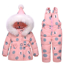Baby Girl Winter Clothes Sets Hooded Down Jacket Bow Print Overalls Jumpsuits Snow Wear Children Toddler Clothing 1 2 3 YearsT06(China)