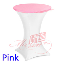 Pink colour spandex top cover for round cocktail lycra table cloth wedding banquet party cocktail table decoration sale