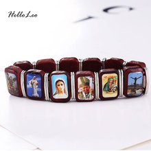 12PCS MIX DESIGN / WOOD STRETCH CATHOLIC SAINT JESUS CROSS VIRGIN MARY IMAGE BRACELET SQUARE OVAL SHAPED FOR GIFTS FREE SHIPPING