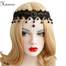 Hansoo Elastic Lace Headbands Women Vintage Wedding Girls Party Headband black Lace Flower Headwear Hairband lady Headpiece(China)