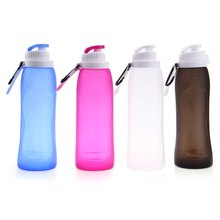 High Quality Eco-friendly My Friday 500ML Foldable Leakproof Silicone Water Bottle for Outdoor Sports Camping Hiking Bicycle