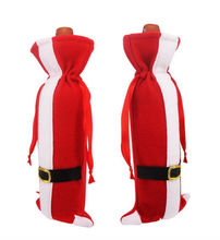 Christmas SANTA WINE BOTTLE Holder COVER Gift Bag Table Dinner Decorations Storage Bags(China)