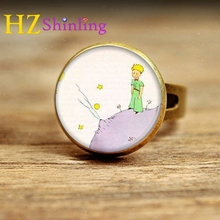 2017 New Style The Little Prince Adjustable Ring Little Prince and Fox Rings Movie Jewelry Glass Dome Ring Gifts Girl