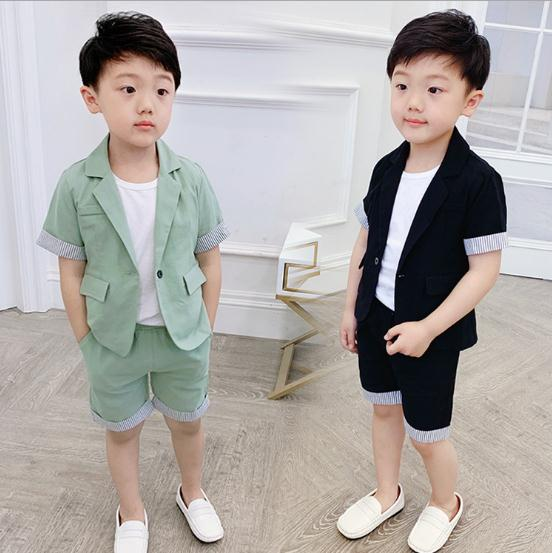 Summer Formal Children's clothes for boys Green/black baby boys suit kids blazers boy suit for weddings prom suit pant 2pcs/sets